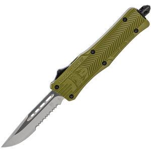 CobraTec Knives Small CTK-1 OTF Knife Partially Serrated Drop Point Satin D2 Steel Blade Aluminum Handle OD Green Finish Pocket Clip
