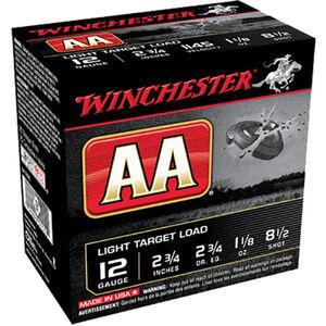 """Winchester USA AA Light Target Load 12 Gauge Ammunition 2-3/4"""" #8.5 Lead Shot 1-1/8 oz 1145 fps"""