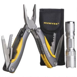 HUMVEE Stainless Steel 14-Tool Multi-Pliers and Tactical LED Flashlight Set (2-Piece), Silver (HMV-CP-10)