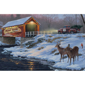 """Rivers Edge Products Boat Rides LED Art Canvas 24""""x16""""x1"""""""