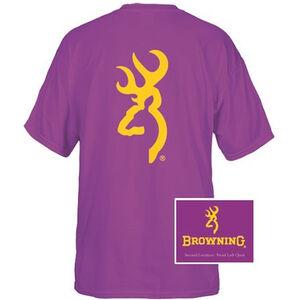 Browning Men's T-Shirt Short Sleeve 2XL Gold 137 Buckmark Cotton Purple