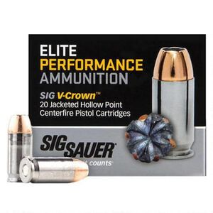 SIG Sauer .38 Super +P Ammunition 20 Rounds, V-Crown JHP, 125 Grains