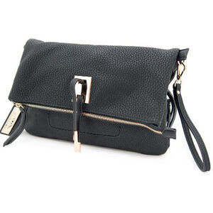 """Cameleon Aya Clutch/Crossbody Handbag with Concealed Carry Gun Compartment 13""""x8""""x3"""" Synthetic Leather Black"""