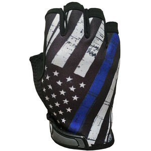 Industrious Handwear Blue Line Flag Half Finger Gloves