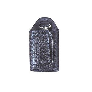 Stallion Leather Jailers Silent Key Keeper Nickel Hardware Leather Basket Weave Black
