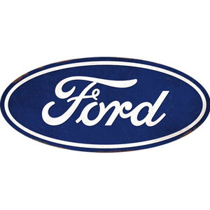 "Open Road Brands ""Ford"" Hollow Tin Curved Button Sign 30""x13.65"""