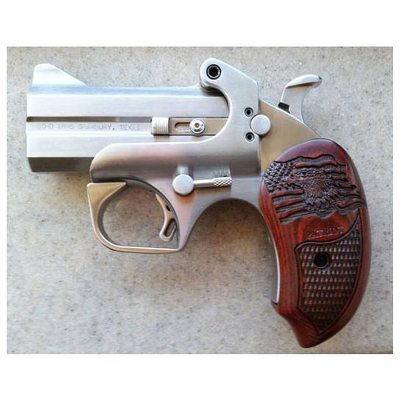 "Bond Arms Patriot Derringer .45 LC/.410 Bore 3"" Barrels Two Rounds Rosewood Grips Brushed Stainless with BAD Driving Holster BAPA45410"