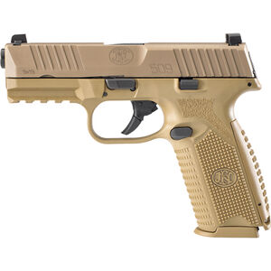 "FN America FN 509 Full Size 9mm Luger Semi Auto Pistol 4"" Barrel 17 Rounds Ambidextrous Controls Polymer Frame FDE"