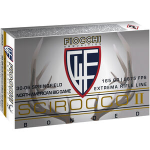 Fiocchi Extrema Rifle Line .30-06 Springfield Ammunition 20 Rounds 165 Grain Scirocco II Polymer Tipped Bullet 2875fps