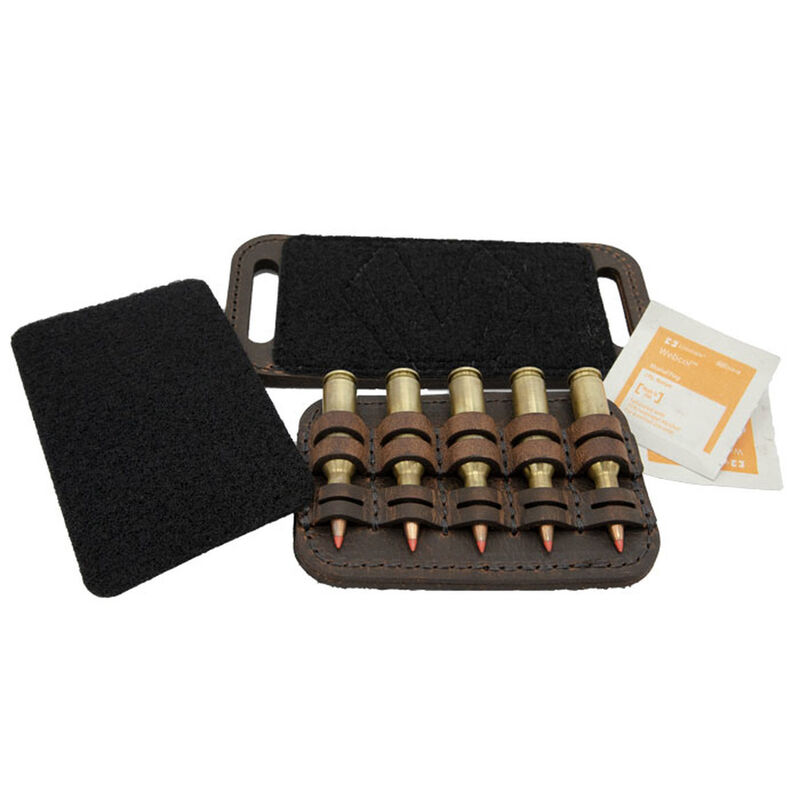 Versacarry Ammo Caddy 5 Rounds OWB or Pad Mount Size 1 Ambidextrous Water Buffalo Leather Distressed Brown AC21