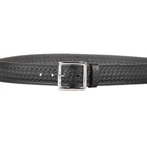 "DeSantis Econo Garrison Belt 1-3/4"" Wide Size 46 Nickel Buckle Leather Basket Weave Black"