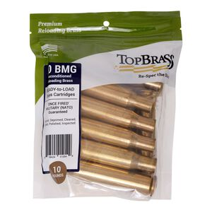 Top Brass .50 BMG Reconditioned Brass 10 Count Bag
