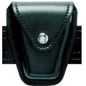Safariland Model 190 Handcuff Pouch Hinged Cuffs Top Flap Chrome Snap SafariLaminate High Gloss Black 190H-9