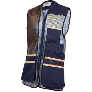 Beretta USA Two-Tone Vest 2.0 Cotton and Mesh Panels Faux Leather Shooting Patch Large Blue
