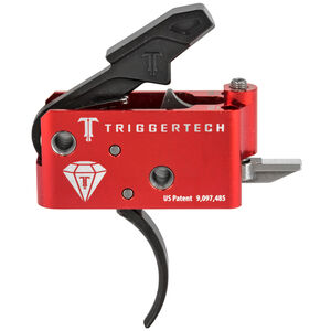 Trigger Tech AR Diamond Trigger Two Stage Curved Shoe Small Pin Compatible 7075 Aluminum Anodized Housing Red