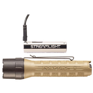 Streamlight PolyTac X USB 600 Lumen Tactical White LED Flashlight Multi-Fuel Compatible Ten-Tap Programming Removable Pocket Clip Nylon Polymer Housing Coyote Tan Finish