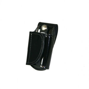 Boston Leather Silent Key Holder Brass Snap Leather Hi-Gloss Black