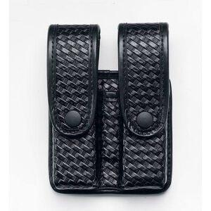 Uncle Mike's Double Fitted Pistol Magazine Case w/Retention Flap Glock/H&K Ambidextrous Mirage Basketweave Finish Black