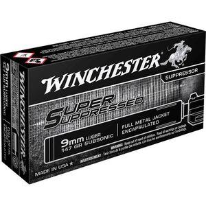 Winchester 9mm Luger Ammunition 50 Rounds Super Suppressed FMJE 147 Grains