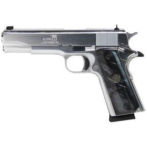 "Iver Johnson 1911A1 Semi Auto Pistol 45 ACP 5"" Barrel 8 Rounds Black Pearl Grips Chrome"