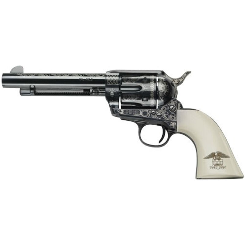 "E.M.F. Great Western II Liberty 1873 Revolver 45 LC 4.75"" Barrel 6 Rounds Laser Engraved Ivory Grips Blued"