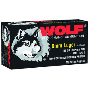 Wolf Performance 9mm Luger Ammunition FMJ 115 Grain