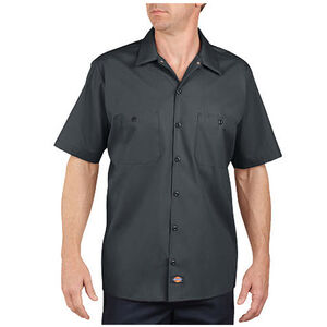 Dickies Short Sleeve Industrial Permanent Press Poplin Work Shirt 2 Extra Large Tall Charcoal LS535CH