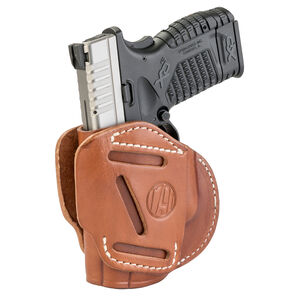 1791 Gunleather 3WH 3 Way Multi-Fit OWB Concealment Holster for Sub Compact/Compact Semi Auto Models Ambidextrous Draw Leather Classic Brown