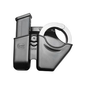 Fobus Magazine/Handcuff Combo Pouch 9mm/.40 Double Stack Mag/S&W Chain Cuffs Belt Attachment Right Hand Polymer Black