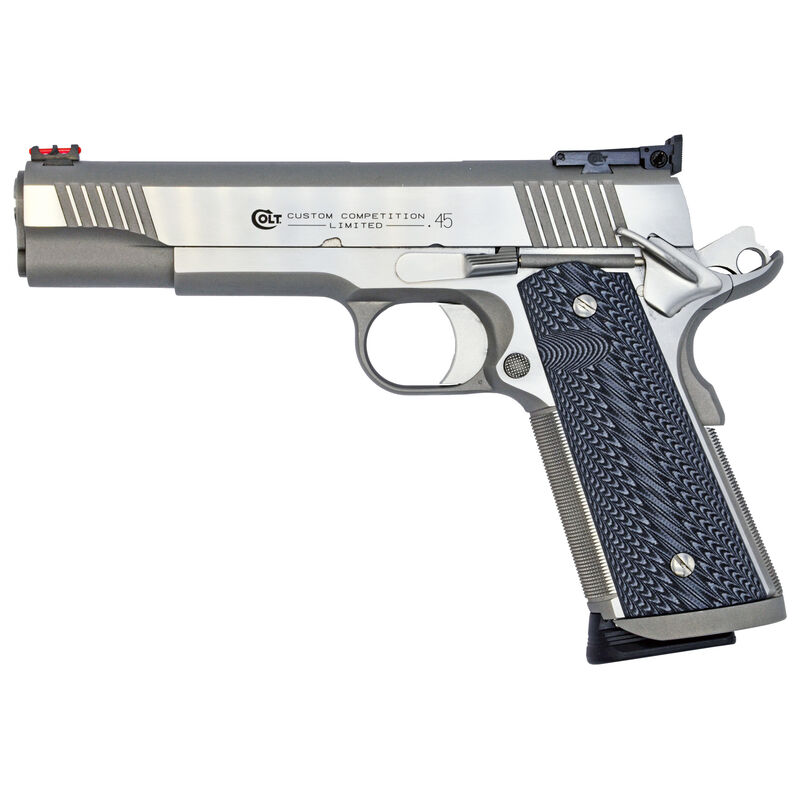 "Colt Custom Competition 1911 Series 70 Government Model Semi Auto Pistol .45 ACP 5"" Barrel 7 Rounds Fiber Front Sight/Adjustable BOMAR Rear Sight G10 Grips Stainless Steel Finish"