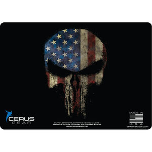 "Cerus Gear Reaper American Flag ProMat Handgun Size 12""x17"" Synthetic Reaper Skull with US Flag on Black Background"