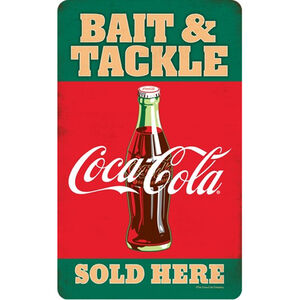 "Open Road Brands ""Bait and Tackle Coca-Cola"" Embossed Tin Sign 6""x9.75"""