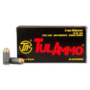 TulAmmo 9x18mm Makarov Ammunition 50 Rounds FMJ 92 Grains TA918092