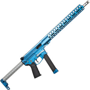 """BAD Battlearms BAD-GS-004 PCC 9mm Luger AR Style Semi Auto Rifle 16"""" Barrel 33 Rounds Uses GLOCK Style Mags 15"""" Freefloat M-LOK Handguard Fixed Stock Sonic Blue/Silver Finish"""