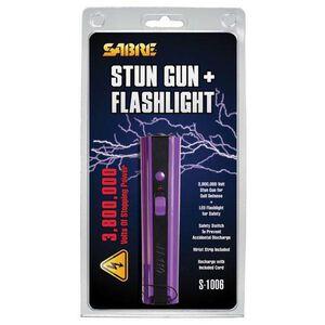 SABRE 3.8 Million Volt Stun Gun with Flashlight Rechargeable Aluminum Purple S-1006PR