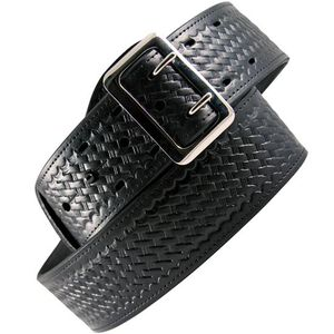 """Boston Leather 6501 Fully Lined Sam Browne Leather Belt 38"""" Brass Buckle Brass Snaps Basket Weave Leather Black 6501-3-38B"""