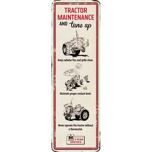 "Open Road Brands ""Farmall Tractor Maintenance"" Embossed Tin Sign 5.46""x17"""
