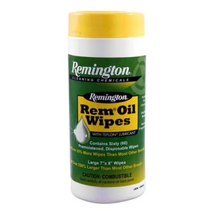 """Remington Rem-Oil Wipe Canister 7""""x8"""" Patch 60 Count"""