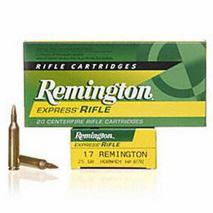 Ammo .17 Rem Remington Express Rifle 25 Grain HP Bullet 4040 fps 20 Rounds R17R2