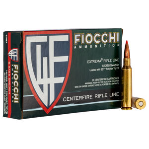 Fiocchi Extrema Rifle 6.5x55 Swedish Ammunition 20 Rounds 140 Grain SST Polymer Tip Boat Tail 2625fps