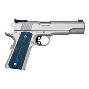 """Colt 1911 Gold Cup Lite Semi Auto Pistol .45 ACP 5"""" National Match Barrel 8 Rounds Fiber Optic Front Sight/Bomar Style Rear Sight Colt G10 Grips Brushed Stainless Steel"""