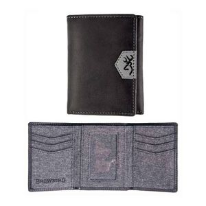 Browning Buckmark Logo Men's Tri-Fold Wallet Leather Black BGT1179