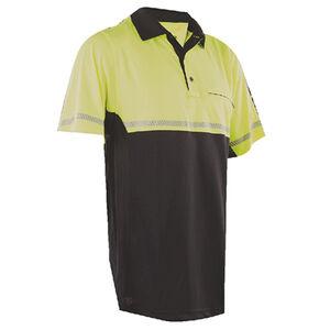 Tru-Spec  24-7 Mens Bike Performance Polo Shirt 2X-Large with Reflective Tape Hi-Vis Yellow