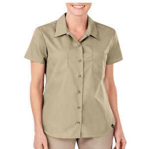 Dickies Women's Industrial Short Sleeve Permanent Press Poplin Work Shirt Large Desert Sand FS5350DS