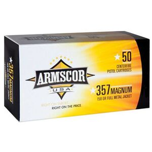 Armscor USA .357 Magnum Ammunition 50 Rounds FMJ 158 Grains F AC 357-6N