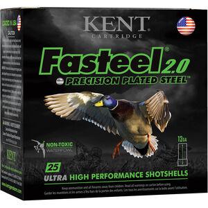 "Kent Cartridge Fasteel 2.0 Waterfowl 12 Gauge Ammunition 2-3/4"" Shell #2 Zinc-Plated Steel Shot 1-1/16oz 1550fps"