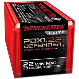 Ammo .22 Magnum Winchester PDX-1 Defender 40 Grain Hollow Point Bullet 1295 fps 50 Rounds S22MPDX1