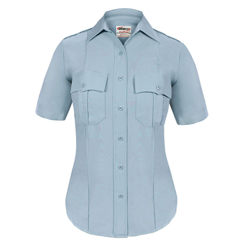 Elbeco TEXTROP2 Women's Short Sleeve Shirt Size 40 100% Polyester Tropical Weave Blue