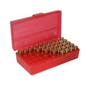 MTM Case-Gard P-50 Original Series Flip Top Handgun Ammo Box .40S&W/.357SIG/10mm/.45 ACP Holds 50 Rounds Clear Red P50-45-29