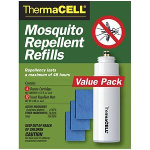 ThermaCELL Refill Pack 4 Butane Cartridges and 12 Mosquito Repellent Mats Thermascent R4